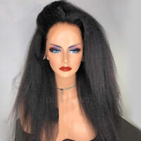 Yaki Kinky Straight Indian Remy Human Hair Wig 360 Lace Frontal Full Wigs Thick