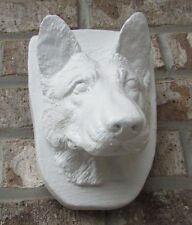 CONCRETE GERMAN SHEPHERD HEAD WALL PLAQUE STATUE / MEMORIAL / GRAVE MARKER