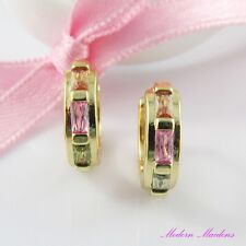 18k Gold GF Three Colour Cubic Zirconia Huggie Hoop Earrings