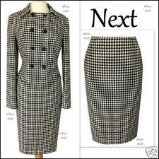 b15 Next 12 40s 50s vintage black dogtooth wool pencil skirt suit ladies