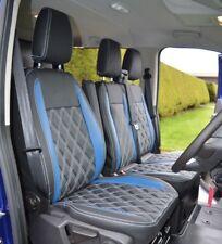 Ford Transit Custom Waterproof Tailored Van Seat Covers Black & Blue Diamonds