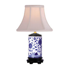 """Blue and White Motif Cylindrical Porcelain Vase Table Lamp 15"""""""