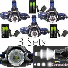Zoomable Headlamp 30000LM XML T6 LED 3 mode Rechargeable+Charger+18650 Batt