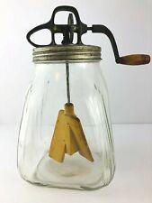 Antique SCC Butter Churn Hand Crank 8 Quart  Glass Primitive