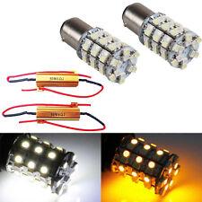 2X 1157 Switchback White Amber Dual Color LED Bulb Turn Signal Light + Resistors