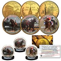 JUSTIFY Triple Crown Winner 3-Coin Set State Quarters 24K Gold Plated TEST ISSUE