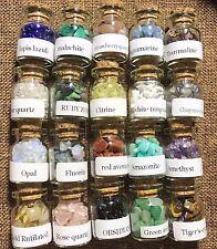 20 Pcs Gemstone Bottles Chip Natural Crystal Tumbled Gem Wishing Reiki Wicca