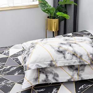 Wellboo Black and White Pillowcases Marble Geometric Triangle Pillow Shams White
