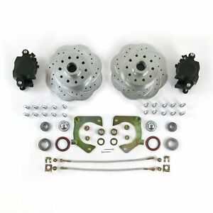 "MUSTANG II 2 FRONT DISC BRAKE KIT 11"" PLAIN  ROTORS NO SPINDLES SS LINES Bolt On"