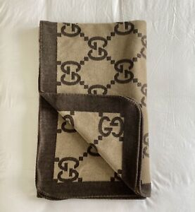 GUCCI GG Monogrammed Logo Printed Wool/Cashmere Blanket - NO RESERVE!