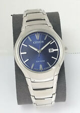 Citizen Eco Drive Mens Blue Dial Date AW1550-50L $250 Stainless Steel NEW w Box