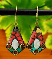 Fashion Tibetan Earrings Nepal Banjara Turquoise Brass Designer Jewelry  BTE725
