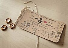 Vintage Rustic Craft Ticket Style Wedding Invitations stationery SAMPLE