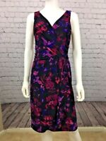 Chaps Dress Purple Floral Faux Wrap Sleeveless V Neck Sz M