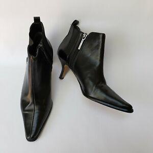 Donald J Pliner Womens Shoes Booties Side Zip Kitten Heels Black Leeo Sz US 5.5M
