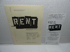 RENT THE MUSICAL - CAST & CREW INSERT - NEDERLANDER THEATRE NEW YORK - MINT