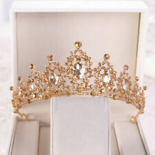 Champagne Gold Queen Tiara Crown Wedding Bridal Party Prom Pageant 8 Colours