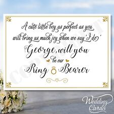 Will You Be Our Page Boy Ring Bearer Personalised Invite Invitation Wedding Card