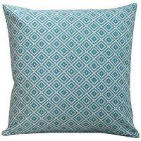 Scandi Geometric Ikat Cushion in Turquoise. Double Sided Diamond Blue & White.