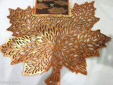 Fall Thanksgiving Vinyl Orange Maple Leaves Placemats Decorations Set of 4 8 12