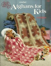 Crochet Afghans for Kids Pattern Leaflet 6 Designs Cats~Bears~Soccer Ball +