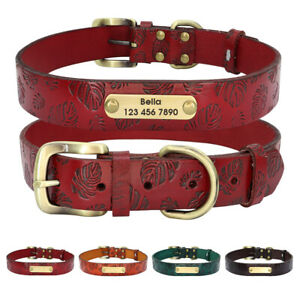 Personalized Leather Dog Collar Adjustable Engraving ID Name&Telephone Labrador