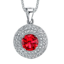 925 Sterling Silver Ruby Dome CZ pendant Necklace set with Pave cubic zirconias