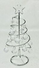 GISELA GRAHAM CHRISTMAS SILVER COIL WIRE MINI TREE WITH CRYSTALS ORNAMENT