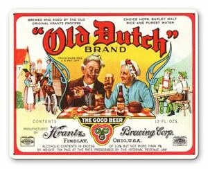 """OLD DUTCH BEER KRANTZ BREWING OH 15"""" HEAVY DUTY USA MADE METAL ADVERTISING SIGN"""