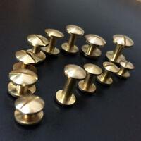 20X Belt Screw Brass Solid Rivets Stud Head Leather Craft Nail Quality-Wallet LA
