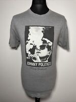 Rowdy Gentleman Johnny Politics Grey Cotton Mens T Shirt Tee Size Large L