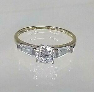 Solitaire Engagement Ring 9ct Yellow Gold .70ct Diamond Simulant Pristine