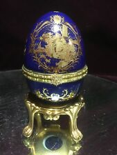 Great Limoges Porcelain Hinged Trinket Egg Box Cobalt Blue Ladies W/ Stand