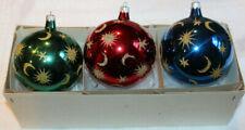 Christopher Radko Glass Christmas Ornament ~1987 Celestial~ Set of 3 Balls w Box