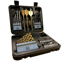 46 Piece Drill Bit Set HSS Masonry Metal Wood Flat Pozi Bits Countrsink & Case