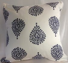 Cushion Cover Navy Blue White Stripe Paisley Pattern Hampton Nautical Coastal 40
