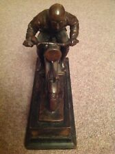 Original Art deco Austrian bronze racing motorcycle sculpture.Circa 1930.