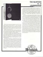 Mcintosh Original XL10 Original Speaker Spec Sheet