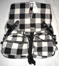 ROXY SALUTE PLAID BACKPACK Purse Handbag Bag Checkered Black & White >NEW<