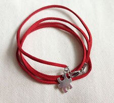 Red Autism Awareness Wrap Wristband with Puzzle charm, Ladies Gift