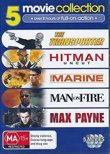 5 Movie DVD set Transporter Hitman Uncut Marine Man On Fire Max Payne DVD