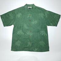 Tommy Bahama Textured Green Short Sleeve Hawaiian Silk Shirt Men's Size Medium M