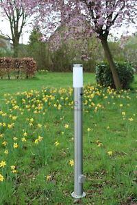 Edelstahl Standleuchte Wegeleuchte Stehlampe mit Steckdosen und Schalter 017985