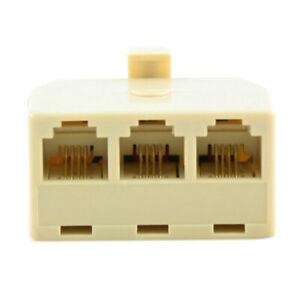 RJ11 Jack 3 Way Outlet Telephone Phone Modular Line Splitter Plug Adapter 6P4C