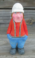"Handcarved Wood Man w/ Suspenders Statue Texas artist Lutsch 6.5"" folk art prim"