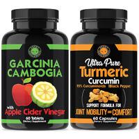 ACV GARCINIA CAMBOGIA BEST Diet Pill Weight Loss & Turmeric Fat Burner 2 Pack