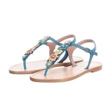 NIB RED VALENTINO Shoes T-Strap Sandals 40 Leather Flowers Handmade Rare Blue