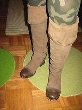 Damen Stiefel Leder braun Stulpen overknee 38 lang geschnürt Reiter