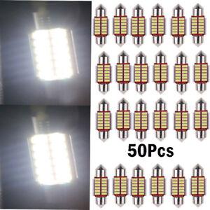 50x 12SMD 31mm 4014 LED Lights Dome Festoon Internal Plate Lamp White