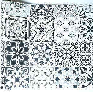 9ft Black White Vintage Mosaic Tile Contact Paper shelf wall paper self-adhesive